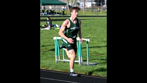 FRESHMAN TAYLER MORAND placed 3rd, 4th, and 6th in the distance events at Pinconning's home track meet last Wednesday.                    --Journal Photo