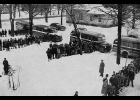 Students in classes in 1952 wait to board busses for home. This is believed to be taken at the old high school building on Third Street in Pinconning. Bus drivers at that time were Robert Norris, Bernard Myers, Robert Hasso (Bus Mechanic), Roland Peters, Myron Trudell, Jesse Labo, Peter Stepaniak, Wallace Henderson, Floyd Knochel, Lawrence Gillette and Frank Stuhr.  A different look from the yellow buses of today.                   --Courtesy Photo from a 1952 Yearbook