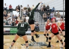 JORJA GAUTHIER (#7) gets a kill against the Cardinals last Tuesday. The Spartans beat W-P in three sets.		            		            --Journal Photo