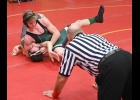 ARTHUR DENNISON completes the pin on his Arthur Hill opponent during the opening match in Saturday's Bridgeport Tournament. Dennison went undefeated on the day, while the team went 4-1 to take second place.                            --Journal Photo