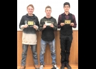 2019 BOYS VARSITY SOCCER TEAM AWARD WINNERS: (l-r) Justin Reder, Most Valuable Player; Berkley Rooker, Spartan Award; Ty King, Most Improved Player.  --Courtesy Photo