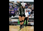 RAYNE WILSON (#1) and SOPHIA SHAKER (#3) go up for a successful block in the first set against the Farwell Eagles last Wednesday.            --Journal Photo