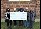 Friends of the  PINCONNING Community Center were thrilled to accept a grant from the Bay Area Community Foundation for the renovation of the building. Pictured are: Jessica Holland, Ellen Charlebois, Dan LaPan,  Dennis Curtis, and Bob Charlebois.                                                                                                               --Courtesy Photo