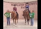 Equestrian Team Members: (L to R) Coach Lane Freeburn, Brooke Owens on Sonny, Katie Gingerich on Jasper, Coach Marlene Buffman. Not pictured are Kenzie Jones and Trista Smerdon.                                                         --Courtesy Photo