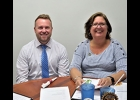 Josh Klee, Farm Bureau Insurance Agent and speaker at the Oct. 14th Rotary meeting with Rotarian Jean Saxon.                      --Courtesy Photo