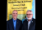 Craig Goulet and Mike Duranczyk, (L to R) during the Rotary meeting on Dec. 12th, where Goulet spoke about improvements to the Bay County Animal Services and Adoption Center.      --Courtesy Photo