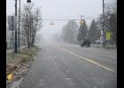 WINTER WEATHER arrived in earnest on Tuesday morning in Pinconning, with this snow squall obscuring vision for drivers. November weather continues to be varied with rain and temperatures near 60 expected on the coming weekend.        										--Journal Photo