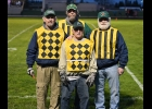 BUCK SCHUMANN (front center) served his last game on the sidelines at PHS on Friday, assisted by (l-r) Rod Schumann, Steve Reszke, and Rick Schumann.                                                                --Journal Photo