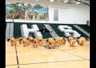 """THE SPARTAN DANCE TEAM performs their routine to """"Proud Mary"""" at half-time of Monday night's Girl's Varsity Basketball game. The Team will head to Ortonville on Saturday for the Spirit Shine Dance Competition where they will be competing in the Large Varsity Jazz-Hip Hop Division.   --Journal Photo"""