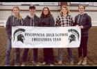 The PHS Equestrian Team: (l-r) Brook Owens,  Austin Zmrzlik, Elaina Huiskins, Jena Hoffman, Katie Gingerich at the  Michigan Interscholastic Horsemanship Association's District VI competition Sept. 6-8th at the Midland Fairgrounds.                                                                                                                                      --Courtesy Photo