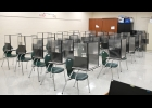 ONE HIGH SCHOOL CLASSROOM was set up with desk shields to give parents and students a look at how the new safety devices will look. The tri-fold plastic shields will be issued to each student, who will be responsible for moving them between classes and cleaning them. --Journal Photo