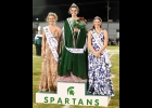 2020 PHS HOMECOMING QUEEN MADISON BELLOTTIE (center), First Runner-Up  Kaylei Groulx, and Second Runner-Up Aubree Bishop pose. All three played multiple roles in Friday's festivities, Bellottie leading the Marching Band as Drum Major, Groulx as a member of the Pom-Pon team, and Bishop kicking for the Football team. --Journal Photo