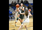 TORI SHARK (#23, left) drives in for a shot against the Harrison Hornets last Thursday. Sharks 14 points helped the Spartans claim a 61-point tie at the end of regulation, but they couldn't get going in OT, and fell 69-63.   --Journal Photo by Rachel Floyd