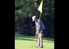 TORI SHARK lines up a putt at Green Hills on the way to her 3rd consecutive win in the Bay County Girls Golf Championship last month. On Monday, she won the MHSAA D4 Regional 20 to secure a place in her 4th State Championship later this month.    --Journal Photo